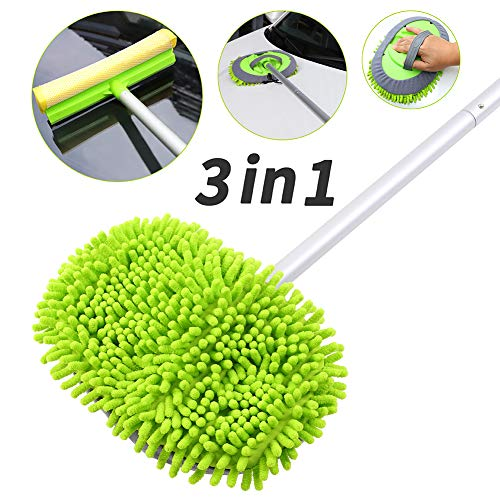 """Car Wash Brush with Long Handle, Car Wash Mop with 45"""" Aluminum Alloy Long Handle,2 Chenille Microfiber Car Wash Brush Head,2 in 1 Car Drying Squeegee Sponge, 3 Mop Pole,3 in 1 Car Cleaning Tools"""