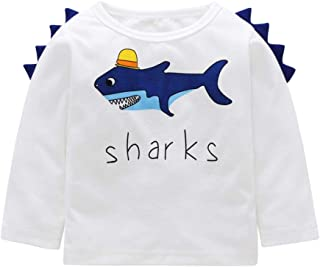 1-5T Toddler Kids Baby Boy Girl Tops Letter Shark Crewneck Sweatshirt Long Sleeve Pullover Casual T shirt Clothes