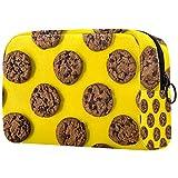 Bolsa de cosméticos para mujer, adorables bolsas de maquillaje espaciosas para viajes, bolsa de aseo de viaje, galletas de chocolate al horno