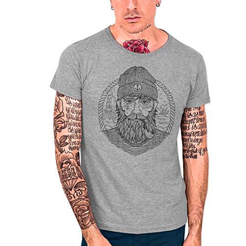 VIENTO Real Captain Camiseta para Hombre (L, Gris)
