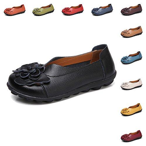 Gaatpot Damen Blumen Mokassins Atmungsaktiv Leder Bootsschuhe-Loafers, Schwarz, Gr.- 38 EU/ Herstellergröße- 39