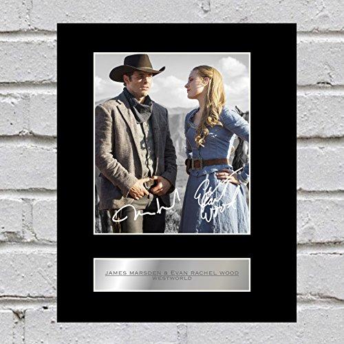 James Marsden und Evan Rachel Wood Signiert Foto Display Teddy Flood und Dolores ABERNATHY (WESTWORLD