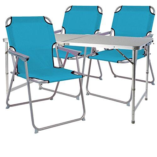 Mojawo 4-teiliges Campingmöbel Set Alu 120x60x58/70cm 1x XXL Campingtisch mit Tragegriff + 3 Campingstühle Petrol Stoff Oxfort