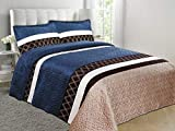 Jenin/WPM Super Soft Velvet Feel Reversible Quilted Bedspread Coverlet Diamond Printed Bed Cover Set (Navy, Twin)