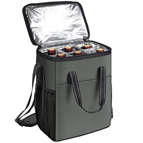 6 Bottle Wine Carrier - Insulated & Padded Wine Carrying Cooler Tote Bag with Handle and Adjustable Shoulder Strap for Travel or Picnic, IDEAL Wine Lover Gift, Grey