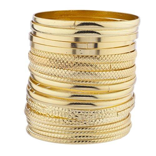 LUX Accessories Goldfarbene Armreife, strukturiert und glatt, Armreif-Set