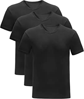V Neck T Shirts Breathable Bamboo Rayon Shirts for Men, 3 Pack
