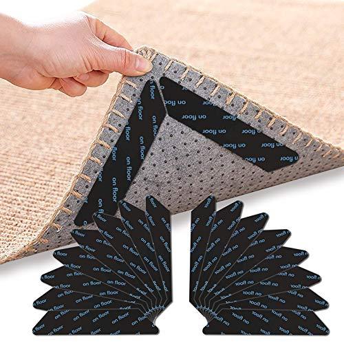 Pinzas para Alfombras, 16 Piezas Adhesivo de Alfombra Antideslizante Esquina de Alfombra Bases Antideslizantes para Alfombras Rug Gripper, para alfombras de Pisos de Madera (negro16)