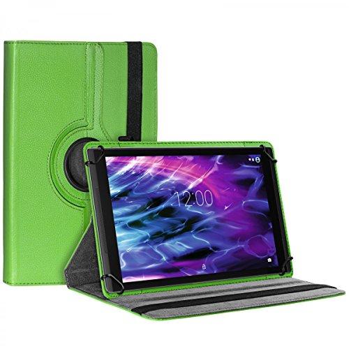 eFabrik Tasche für Medion Lifetab X10302 | X10301 | S10352 | S10351 Case Cover Hülle Schutzhülle Etui 360 Grad Rotation Drehung Aufstellfunktion Leder-Optik grün