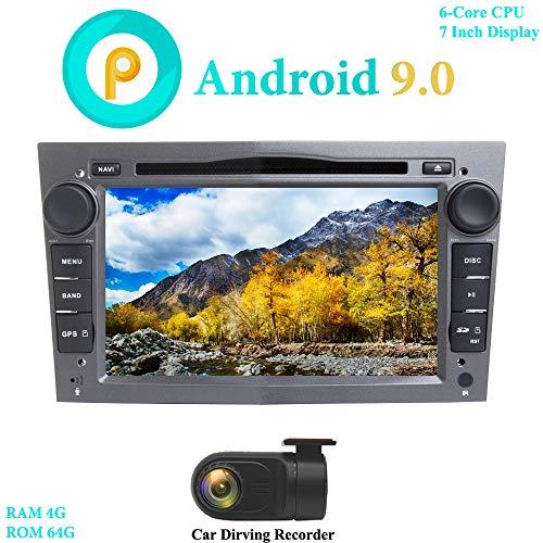 XISEDO Android 9.0 Autoradio 7' In-dash Car Radio 6-Core RAM 4G ROM 64G Car Stereo e Lettore DVD per OPEL Astra/Antara/Vivaro/Corsa/Vectra (Grigio) (con DVR)