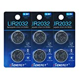 Rechargeable 2032 Batteries 3.6V Lithium Ion Button Coin Cell Batteries of Key Fob Batteries CR2032 Rechargeable (6pcs)