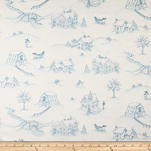 Maywood Studio Christmas Joys Flannel Winter Landscape Quilt Fabric, Blue, Quilt Fabric By The Yard
