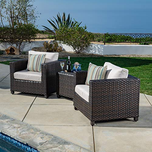 AE Outdoor DPS101190 Naples 3 Pc. Deep Seating Patio Set, Tan