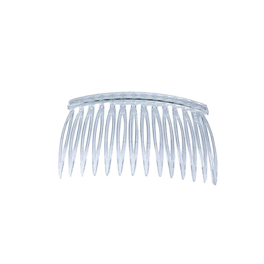 セマフォ抱擁カビLURROSE 10ピース透明プラスチックヘアクリップコームズフレンチツイストコームワイヤーヘアサイドコームブライダルウェディングベールコーム用女性