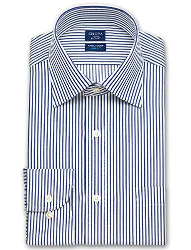 [チョーヤ] ワイシャツ スリム アポロコット 綿 100% 形態安定 加工 長袖 ノーアイロン ドレスシャツ ワイドカラー メンズ [455-3882] CFD34