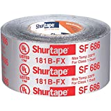 Shurtape SF 686 UL ShurMASTIC Butyl Foil Indoor/Outdoor HVAC Tape, 181B-FX Listed/Printed, 3' x 33.3 Yards, Silver, 1 Roll (111163)