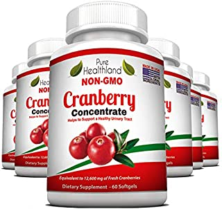 Non GMO Cranberry Concentrate Supplement Pills for Urinary Tract Infection UTI. Equals 12600mg Cranberries. Triple Strength Kidney Bladder Health for Men & Women. Easy to Swallow Softgels, 6 Bottles