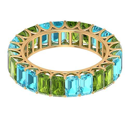 Rosec Jewels 10 quilates oro amarillo Octagone Green Blue Peridot Topacio azul - Suizo