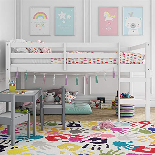 Dorel Living DA8377 Milton Junior Twin Loft Bed, White