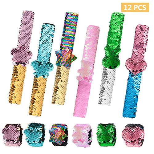 Kyrieval 12 Stücke Schnapparmband Kinder Meerjungfrau Pailletten Armbänder Reversible Glitzer Slap Armbänder für Kinder Mädchen Geburtstag Party Mitgebsel Armband Mitbringsel Geschenk