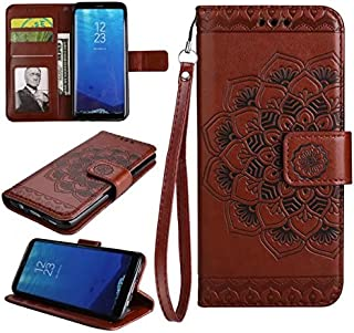 Protective Case Compatible with Samsung Embossed Half Flower Design [Wrist Strap] Premium PU Leather Wallet Pouch Flip Stand Case Compatible Samsung Galaxy S8 Plus Phone case (Color : Brown)