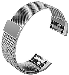 "Fitbit Charge 2 Bands, Winner Outfitters Milanese Loop Stainless Steel Replacement Accessories with Magnetic Metal Lock Small & Large Bands for Fitbit Charge 2, 5.5"" - 8.5"",Silver/Small"
