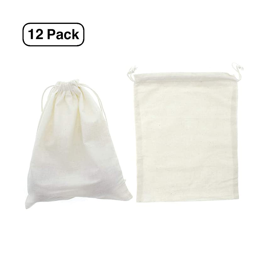 Linen and Bags Natural Cotton Muslin High Quality Drawstring Bags for Party Favors (8