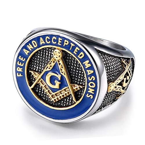 TIANYI Free and Accepted Masons Ring Stainless Steel Men's Freemason Masonic Biker Ring Size 10