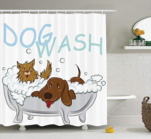 Nyngei de la guardería Colección Perros juguetones Bañarse en una bañera Tiempode Aseo Aseo Limpio Mascotas Tema Ilustración con Blanco Marrón Azul