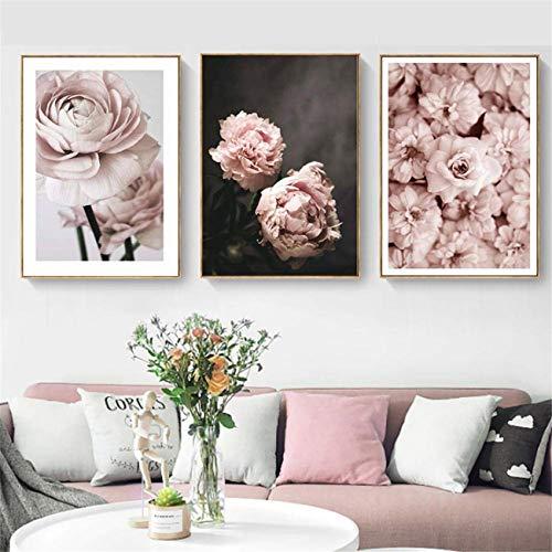 DOLUDO 3 Stück Set Rosa Pfingstrose Leinwandbild Für Wohnzimmer Blume Leinwand Poster Bilder Nordic Wandkunst Leinwand Malerei 30x50cmx3 (mit Rahmen)