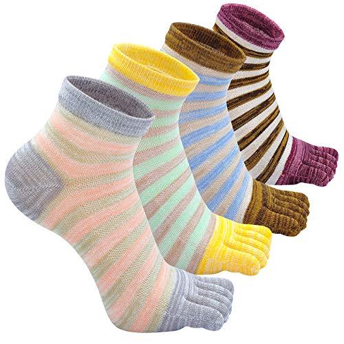 CaiDieNu Kurze Zehensocken Damen Fünf Finger Sneaker Socken Baumwoll Sport Socken mit zehen, Bunt Streifen, Laufende und lässig, 4/5 Paar