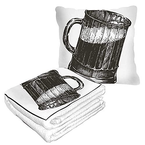 Manta de viaje de vidrio de cerveza 2 en 1 taza negra de cerveza de avión manta hogar sofá mullido franela oficina manta