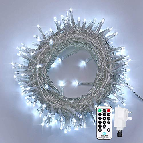 Qedertek LED Outdoor String Lights, 66ft 200 LED Fairy Lights Plug in, Waterproof 8 Lighting Modes LED String Lights for Bedroom, Wedding, Party, Garden, Patio, Christmas Decorations (White)