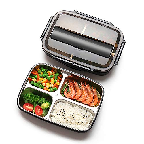 Xixihaha 4 Compartment Bento Lunch Box Stainless Steel Portable Picnic office School Food Storage for Woman Man Kids Leakproof Bento Box with Chopsticks and Scoop Snack Packing-Dishwasher Safe