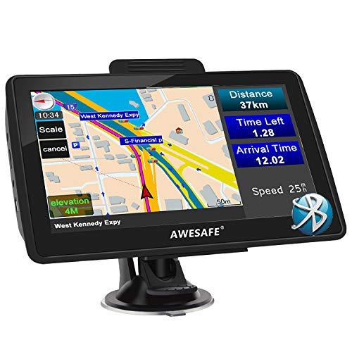 AWESAFE Navigationsgeräte für Auto LKW 7 Zoll Navigation mit Bluetooth, GPS Navi 2020 Europa Karten, Lebenslang kostenlos Kartenupdate