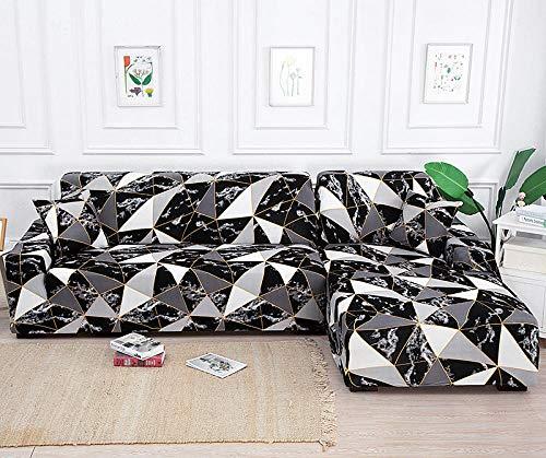 Funda de sofá de Siete plazas en Forma de L, Funda de sillón en Forma de L para Sala de Estar, Funda Protectora Elegante y Suave con Todo Incluido,Color2,3-Seater_190-230cm