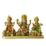 Hinduism Lakshmi Ganesha Saraswati Statue - Hindu Laxmi Ganesh Home Temple Pooja Mandir - Indian Murti Puja Decoration Items Diwali Gift Living Room Office Tabletop Desk