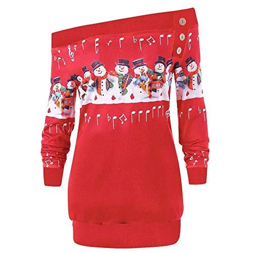 Señoras Suéter De Navidad Largo Olmo Manga Larga Papá Vintage Y Noel Sudadera con Estampado De Nieve Mujer Señoras Ancla El Hombro Camisa De Hombro Tops Blusa De Navidad De