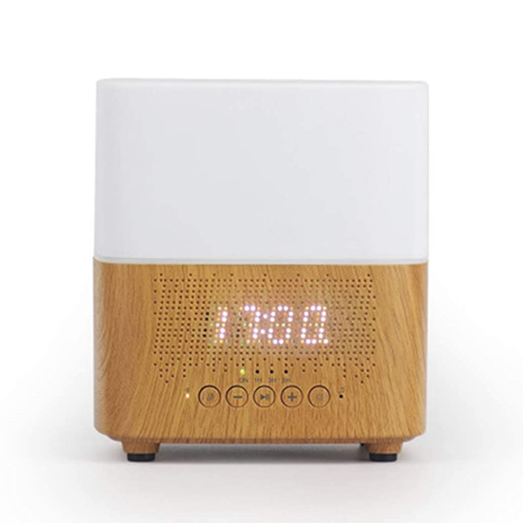 地震マークダウン涙ブルートゥースのスピーカー機械LED時計の目覚まし時計の夜ライト加湿器 (Color : White)