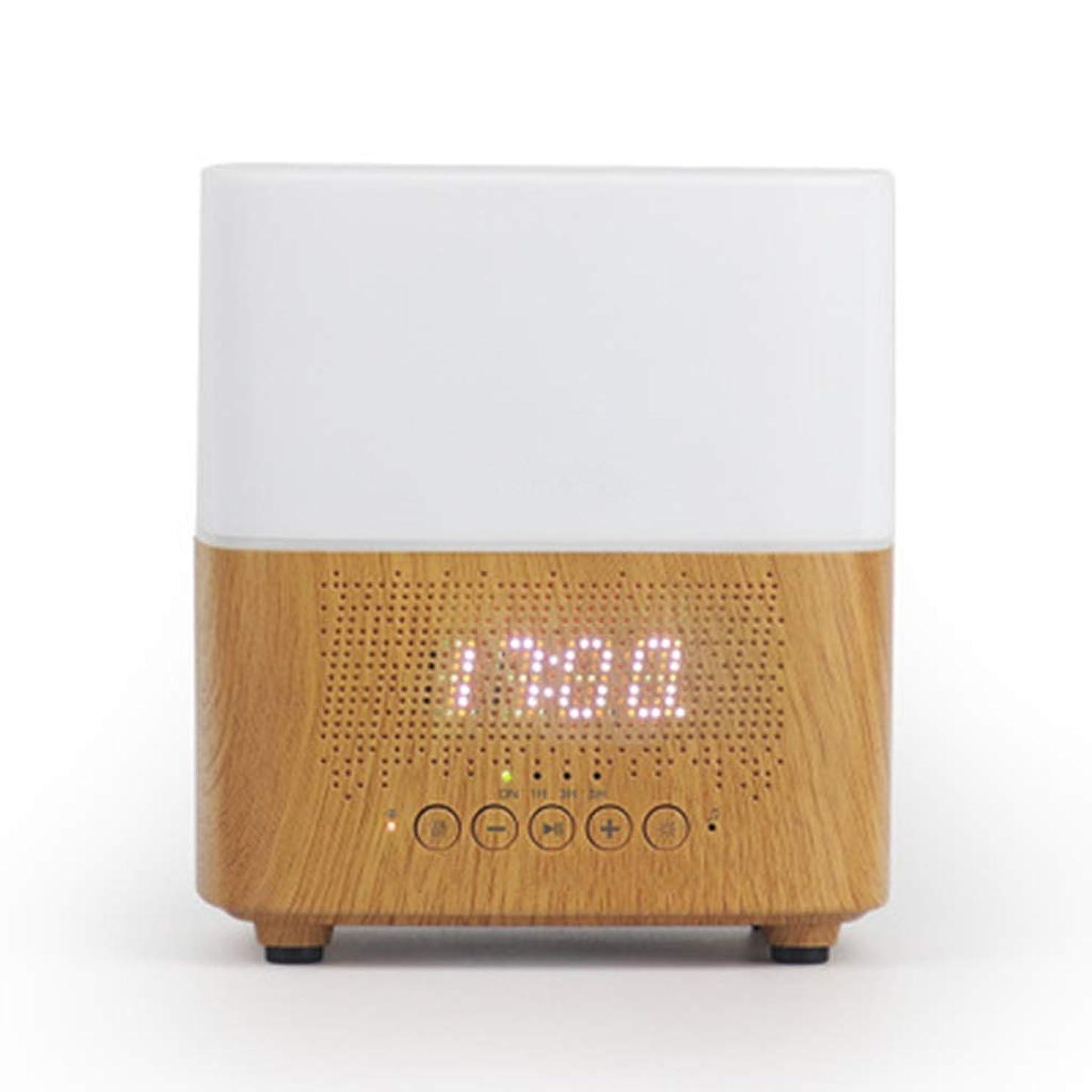 回想管理者リーダーシップブルートゥースのスピーカー機械LED時計の目覚まし時計の夜ライト加湿器 (Color : White)