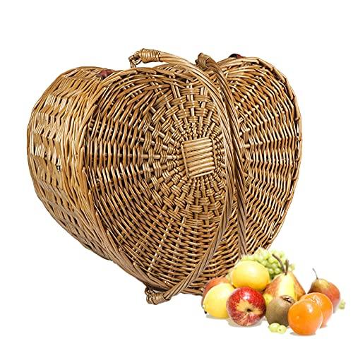 MEARCOO Cesta Picnic Mimbre, Picnic Basket, Cesta Almacenamiento para EI Hogar, Cesta Regalo Mano Madera De Sauce, Cesta Frutas Regalo Vacaciones Viaje Al Aire Libre
