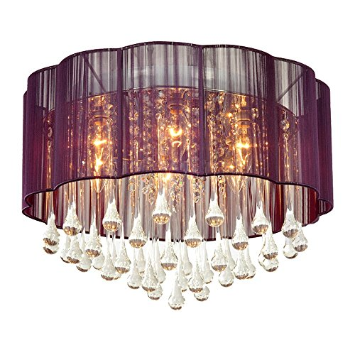 DINGGU Modern Purple Color Flush Mounted Ceiling Chandelier Lighting Pendant Lamp For Bedroom and Dining Room
