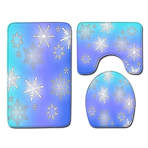 Alfombrillas de baño Suave Antideslizante Cubierta colorida de los copos de nieve Cubierta de asiento de inodoro y juego de alfombras para baño Novetly Decorative With Asiento de asiento y tapa de tan