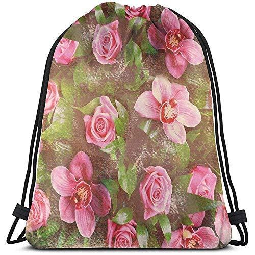 Zaino con Coulisse Borse Sport Cinch Bag, Romantica Composizione Floreale retrò Grunge Wedding Corsage Art