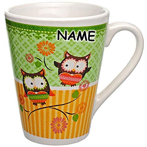 alles-meine.de GmbH 2 Stück _ Henkeltassen / Kaffeetassen - lustige Eulen - inkl. Name - 250 ml - Porzellan / Keramik - groß weiß Teetassen - Trinktassen mit Henkel - Eule Eulenm..