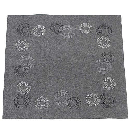 SIDCO Tischdecke grau Ringe Tischtuch Tischband Mitteldecke Kreise 85 x 85 cm