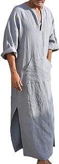 Men's Ethnic Robe - Manica Corta Vintage Kaftan Arabia Saudita Mediorientale Thobe Estate V-Collo Cotone Lino Tunic Top El...
