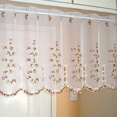 Yujiao Mao 1er Pack Halbtransparent Besticke Bunt Blumen Scheibengardine Küchen Vorhang Tür Gardine J15 HxB 90cmx150cm