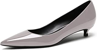 Eldof Women's Low Heel Pumps Pointed Toe Kitten Heels Slip on Comfort Pumps 1.4 Inches for Dress Party Office