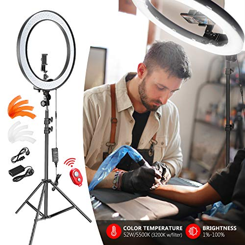 Neewer Ring Light with Stand Kit: 18-inch Outer 52W 5500K Dimmable LED Ring Light with Filter, Phone Holder, Bluetooth Remote for TikTok YouTube Video, Selfie Light, Makeup, etc (No Carry Bag)